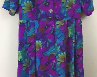 VINTAGE 1980s Richard Stump vibrant purple floral tea dress UK 14/16