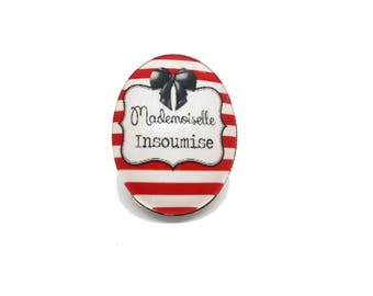 """Ring funny insult - soft """"Mademoiselle L'insoumise"""" words"""