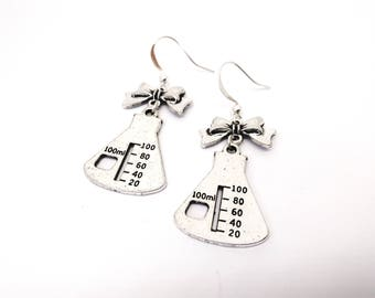 Earrings flask science laboratory DNA molecule chemistry science