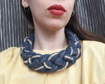 Fabric necklace Denim necklace Bib Necklaces Textile necklace Jeans necklace Statement necklace Unique necklaces