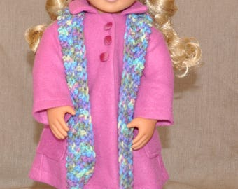 """Beautiful coat, hat and scarf set for 18"""" doll including American Girl."""