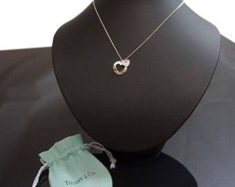 VERY RARE:  Gorgeous Tiffany & Co. Stencil Double Heart Sterling Silver Necklace, Like New!