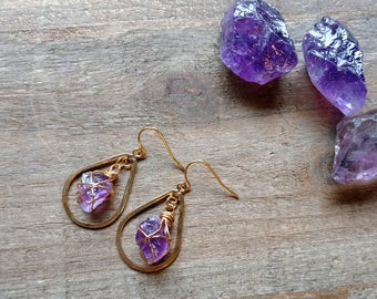 Raw Amethyst Teardrop Earrings, Small Teardrop Hoop Amethyst Dangle, Gold Wire Wrapped Amethyst Stone, Boho Gemstone Jewelry, Gifts for Her