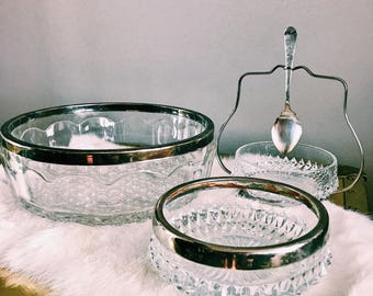 Set of Three (3) Vintage Cut-Glass Servingware  w/ Silver-Plate Rim / Made In England / Wedding Decor / Hosting Dish Set