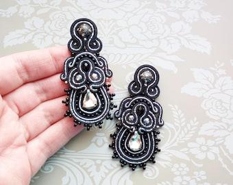 Black soutache earrings Silvery earrings Crystal earrings Clips on earrings Stud earrings Embroidered earrings Luxury earrings Long earrings