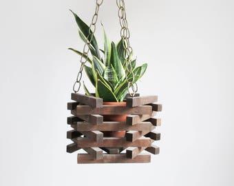 vintage wood hanging planter / wooden plant holder box / hand made hexagon plant hanger basket