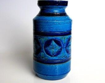 "Bitossi Blue Vase / Aldo Londi Vase / Blue Ceramic Vase / Rimini Blue / Mid Century Modern / Made in Italy / Blue / Turquoise / Green / 8,5"""