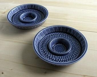 60s / Scandinavian Modern / Rorstrand Scherzo / Gunnar Nylund Design/ Pair / Tealight Holders / Blue / Art Pottery / Candle Holders / Sweden