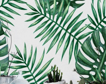 30% OFF from Green watercolor monstera&palm leaf self-adhesive wallpaper, Renters wallpaper, Wall decal, BW137