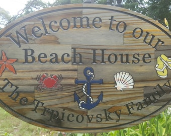 Beach House Sign w/Chain