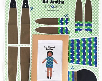 Poupée de chiffon kit couture - Aretha - cadeau jeu doudou enfant