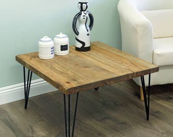 Rustic Square Old Elm Wood Coffee Table, Reclaimed Wood, HW950 984
