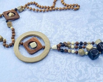 Multicolor Necklace, Large Wood Bead Necklace, Wooden Necklace, Long Statement Wooden Necklace