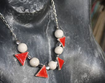 Red and white ceramic necklace