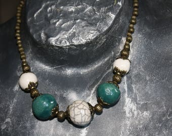 Raku pottery white, green and bronze necklace