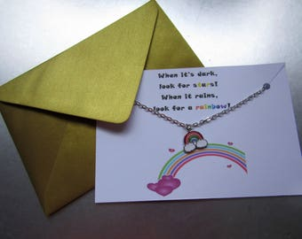 Look for a Rainbow Necklace with Gift Card, Rainbow Jewellery, Rainbow Necklace, Rainbow Pendant, Jewellery with Gift Card, Rainbow Card