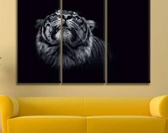 Tiger Black And White Canvas Print Wall Art Multi Panel Tiger Wall Decor Tiger Print Tiger Poster Wall Art Tiger Canvas Art Animal Canvas