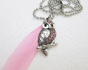 Owl, Necklace, feather, Pendant, Jewel, Blue, Wisdom, Mysticism, Spirituality