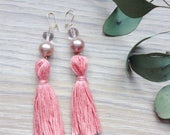Coral tassel earrings, pearl dangly earrings, beaded gold earrings, pastel tassels, vintage style, long statement earrings,