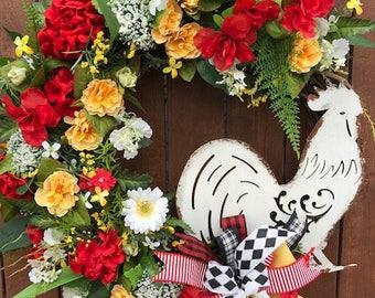 Rooster Wreath, Farmhouse Wreath, Floral Wreath, Rooster Decor, Summer Front Door Wreath, Front Door Decor, Country Wreath, Summer Wreath