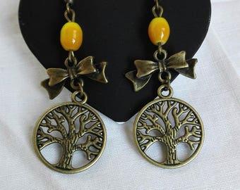 Celtic earrings tree of life knots antique bronze vintage beads yellow fairy Zen gift idea