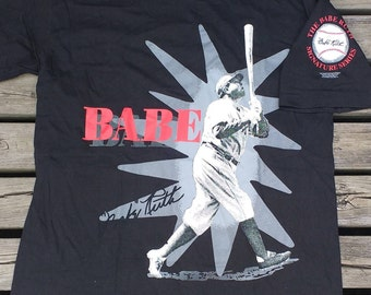"Vintage Rare 1993 ""The Babe"" Ruth Signature Series double-sided t-shirt large"