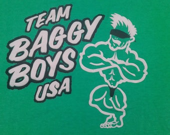 Vintage 80's / 90's Team Baggy Boys USA Green sweatshirt/t-shirt bodybuilder muscle man weightlifting clothes Made in USA large