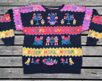 Awesome Colourful and Bright Pink Purple and Yellow Abstract Knit Sweater large