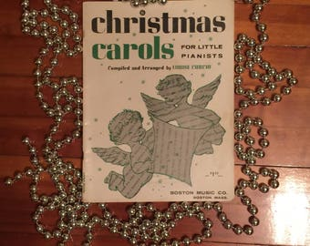 1950s Christmas Carols for Little Pianists Sheet Music Compiled by Louis Curcio Boston Music Co.