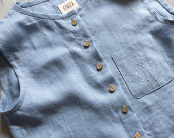Linen tank top buttons pale blue light blue embroidered tank top summer blouse loose linen shirt grey sleeveless linen womens clothing