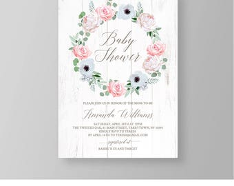 Printable Baby Shower Invitation, Editable Baby Shower Invite Template, Pink Rustic Floral Wreath, Instant Download, DIY, Templett #014BS