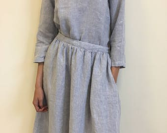 Light blue linen skirt, flared women skirt, drawstring waist, long linen skirt, linen summer skirt, midi skirt, loose linen skirt,