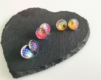 SALE , set of 3 mermaid scales studs , mermaid earrings , bundle , jewellery , gifts , dragon scales , fish scales , studs , jewelry , cute