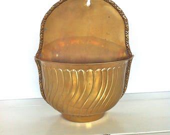 Brass Wall Planter/Bras Wall Vase/Brass Wall Pocket/Vintage Brass Wall Planter/Brass Hanging Wall Planter/Brass Wall Vase/Brass Planter