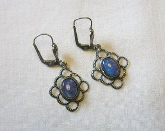 Vintage faux opal drop earrings