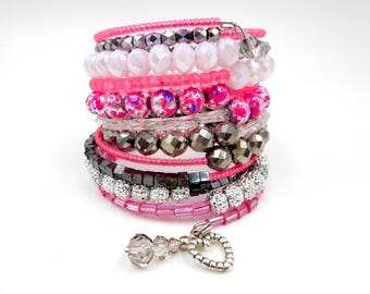 Pink beaded bracelet, memory wire bracelet, pink memory wire wrap bracelet, beaded wrap bracelet, pink wrap bracelet, crystal bracelet
