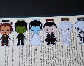 Magnetic bookmarks - Characters inspired by movies Classic Horror, Halloween, Wolfman, Frankenstein, Dracula
