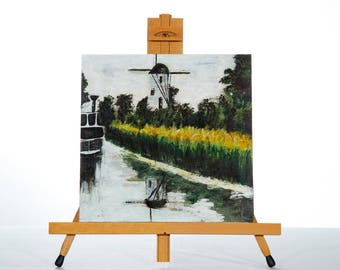 """Landscape Painting Art Acrylic Original // """"Chocolate Box""""  12x12"""" Wooden board and framed by JulietteAnne"""