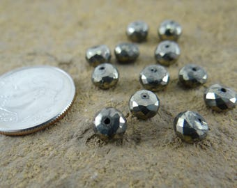 Silver Pyrite | Faceted Rondelle Beads | Sets of 12