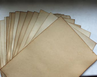 10 sheets aged paper, old parchment, antique leaflets, wedding invitation DIY, ancient paper imitation, scrapbooking supplies scrap material