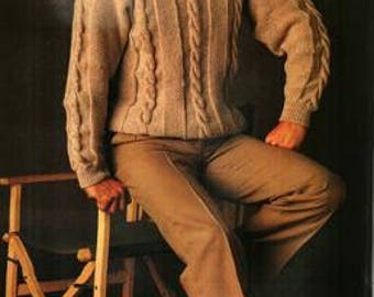 Mens Cable Knit Jumper Knitting Pattern PDF