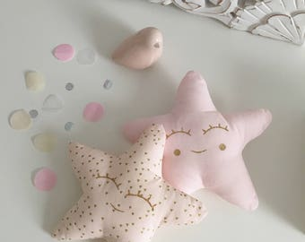 Child's room decoration - Duo twinkling stars - pink blush and gold