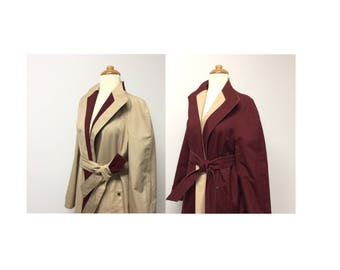 Vintage Etienne Aigner REVERSIBLE Long Trench Coat Jacket Wrap Belted Style Skimmer Modern Size Medium / Large / XL Burgundy Tan Beige Retro