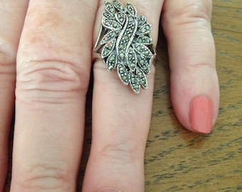 Sterling Silver Marcasite Cluster Ring