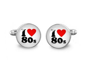 I Love 80's Cuff Links 16mm Cufflinks Gift for Men Groomsmen Novelty Cuff links Fandom Jewelry