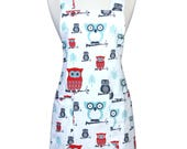 Japanese Crossback Apron Canvas Retro Whimsical Red Aqua Perched Owls - Vintage Style Womens Crossover Pinafore Apron with Pockets