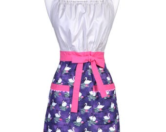 Womens Kitchen Retro Apron Purple Gray Swans Pink Water Lilies Vintage Inspired Cooking Hostess Apron with Pockets (CS)