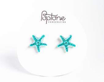 Starfish Earrings, blue starfish stud earrings, bridal jewelry, beach wedding, mermaid gift