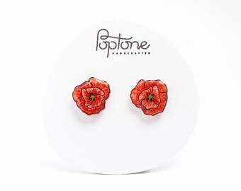 Red Poppy Earrings, poppies, valentines gift for her, red flower stud earrings, poppy studs, red poppies