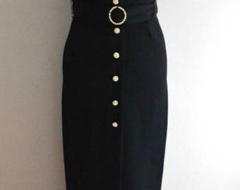 Vintage 80s Polly Peck Black Long Fitted Strappy Dress